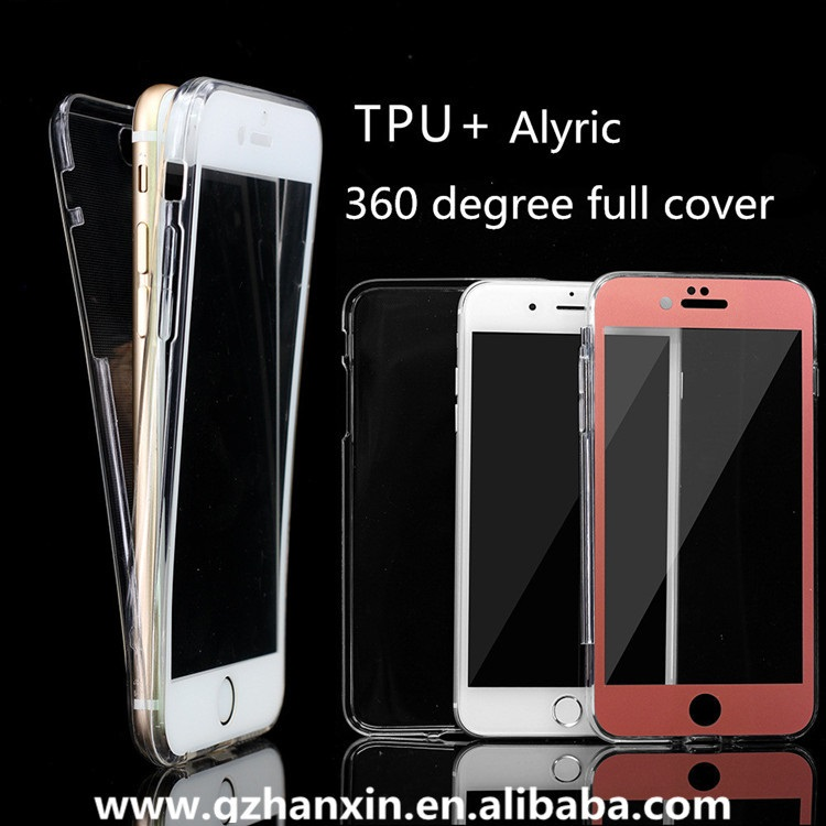 360° full cover soft tpu + alyric 2-in-1 mobile phone case with screen glass for iPhone