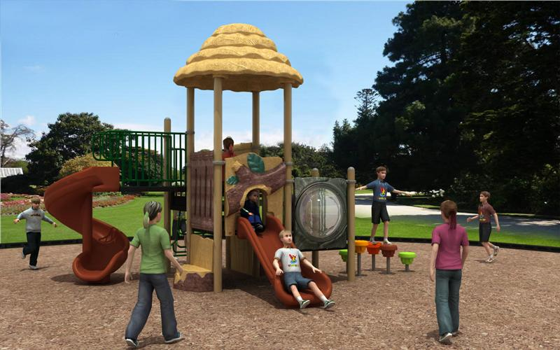 Latest Playground Equipment Forest Hut Series Outdoor Spiral Slide WD-SC108