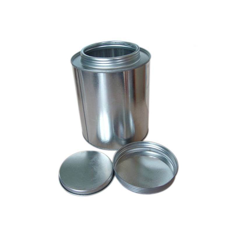 Custom 500ml 1L plain round tin cans with inner lids and screw type outer lids without print