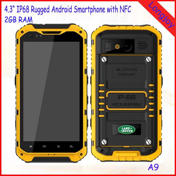 4.3 Inch Land Rover A9 Rugged IP68 Waterproof Mobile Phones Octa Core 2GB RAM 16GB ROM with NFC GPS