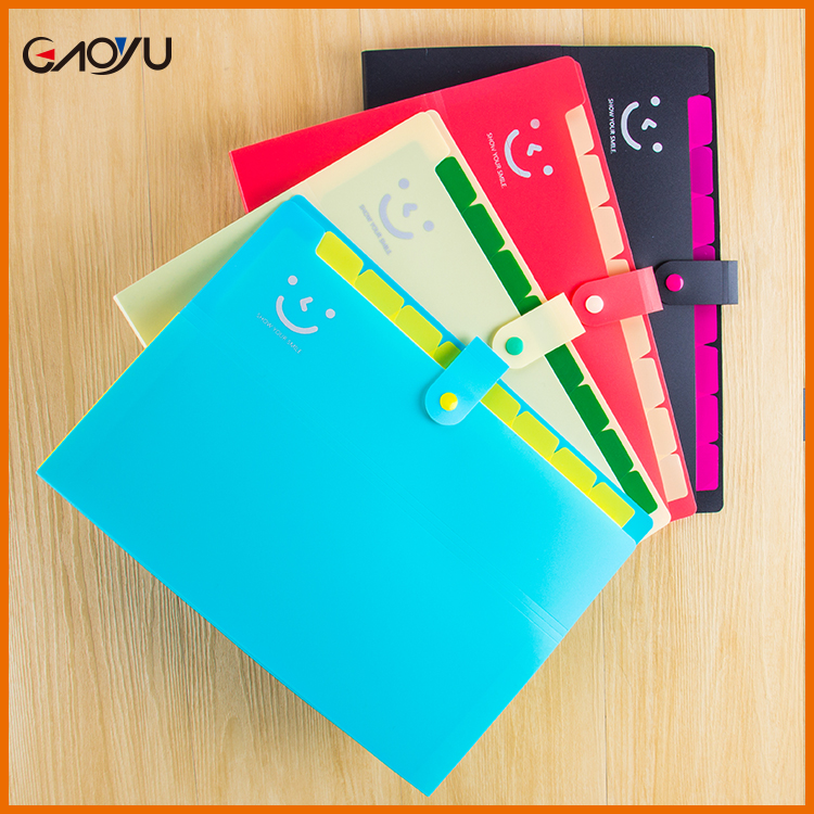 Office & School Stationery Custom PP Pockets Expanding package bags plastic wallets File Folders