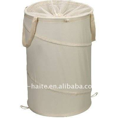 Polyester folding laundry basket with drawstring closure