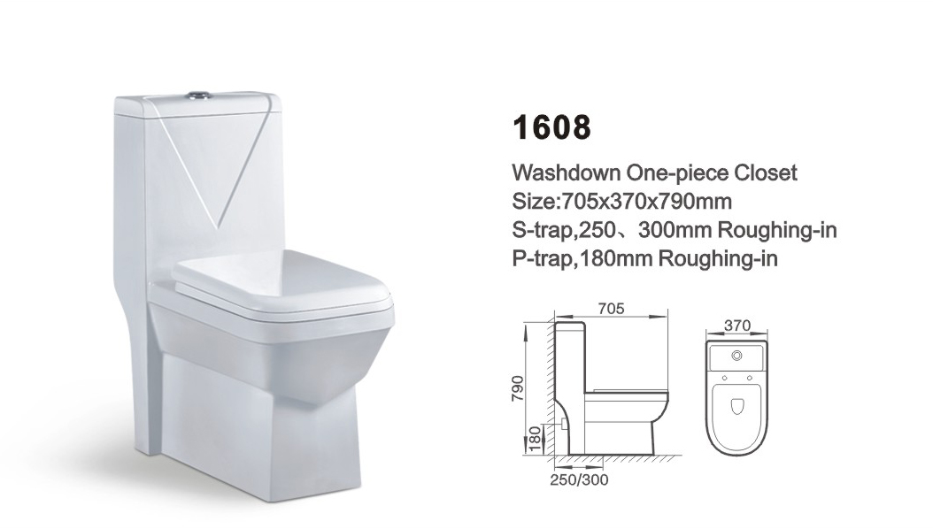Item NO.1608 washdown one-piece toilet