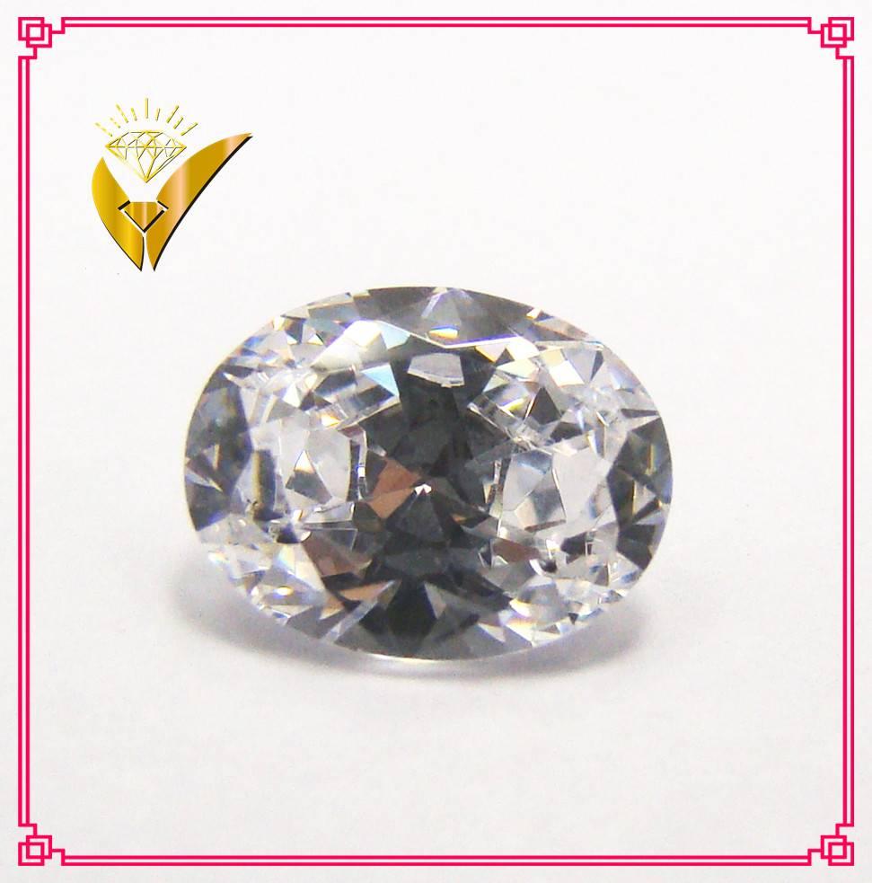 Machine cut white oval shaped zirconia gemstone