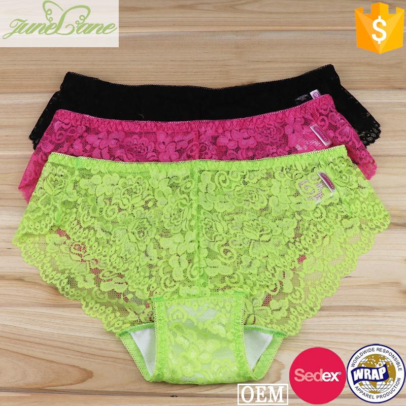 Lingerie hot breathable soft briefs sexi ladies lace transparent panty