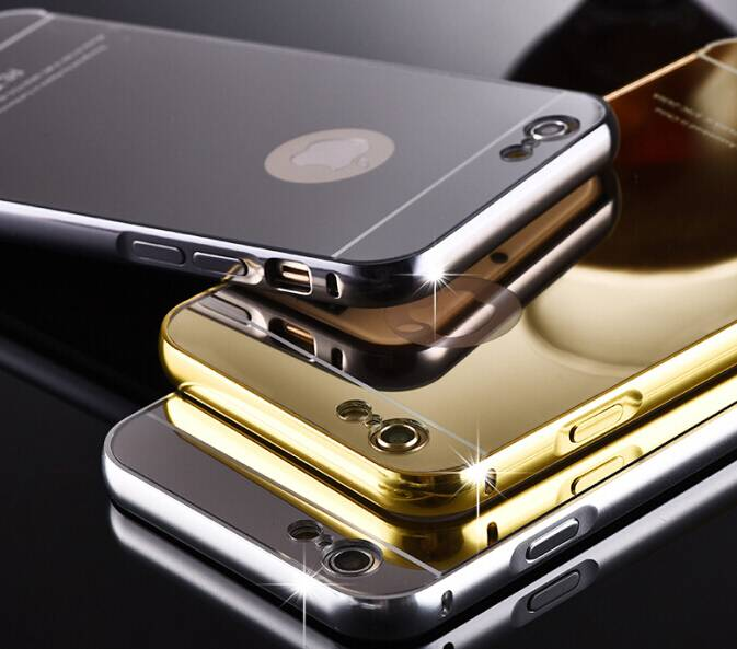 Back to school season 24K Gold Electroplating Iphone6 phone cases Aluminum Alloy with Acrylic mirror
