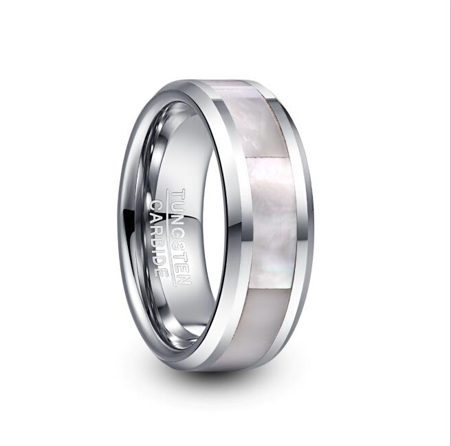 2019 NUNCAD 8mm Wide Tungsten Carbide Ring Men's Wedding Ring Steel Color Inlay White pearl