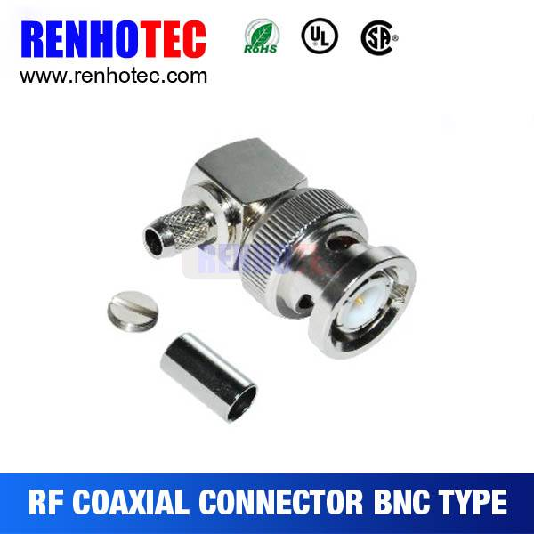 Male BNC plug 90 degree connector crimp RG 58 RG59 RG6