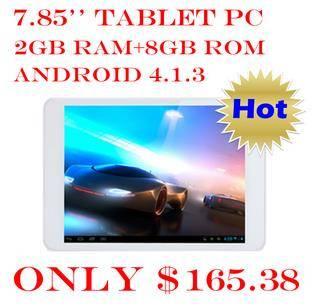 7.85 Inch 1024*768 2G RAM 8G Memory Dual Camera 200w+500w Quad Core tablet with rockchip rk3188