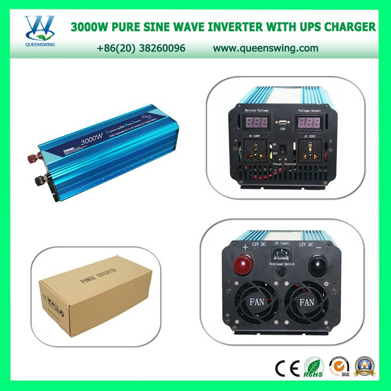 QUEENSWING 12V/24VDC to  110V/220V 3000W Pure Sine Wave Power Inverter with UPS Charger and digital