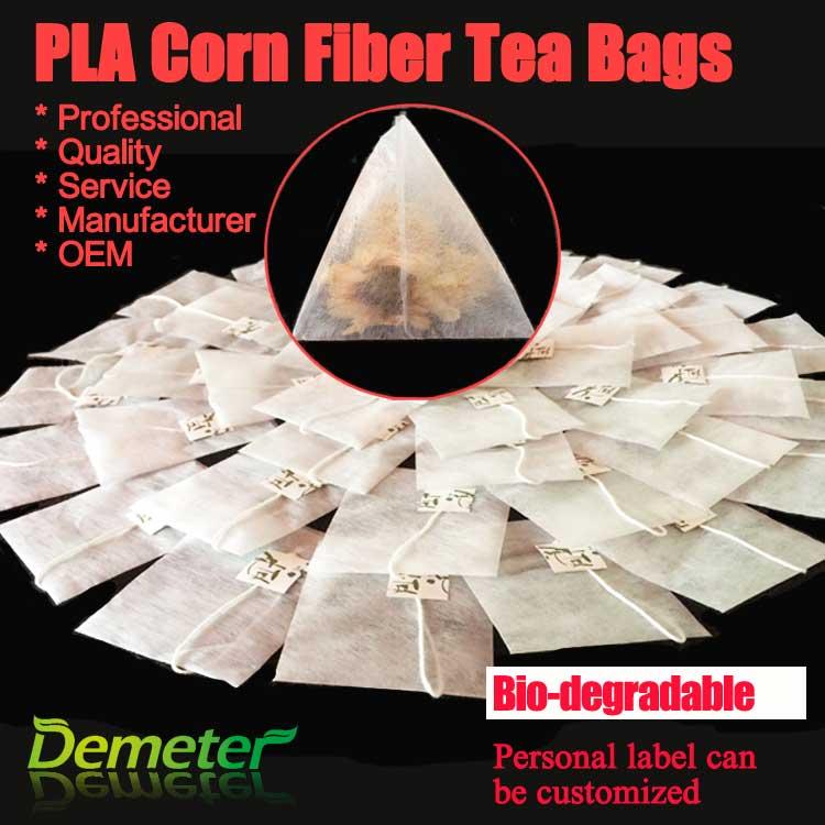Pla corn fiber biodegradable striangle tea bags pyramid