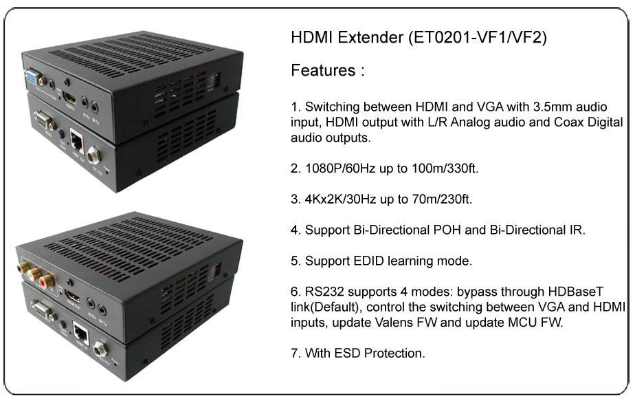 100m HDMI and VGA/Audio to HDBT Switcher Extender-Set