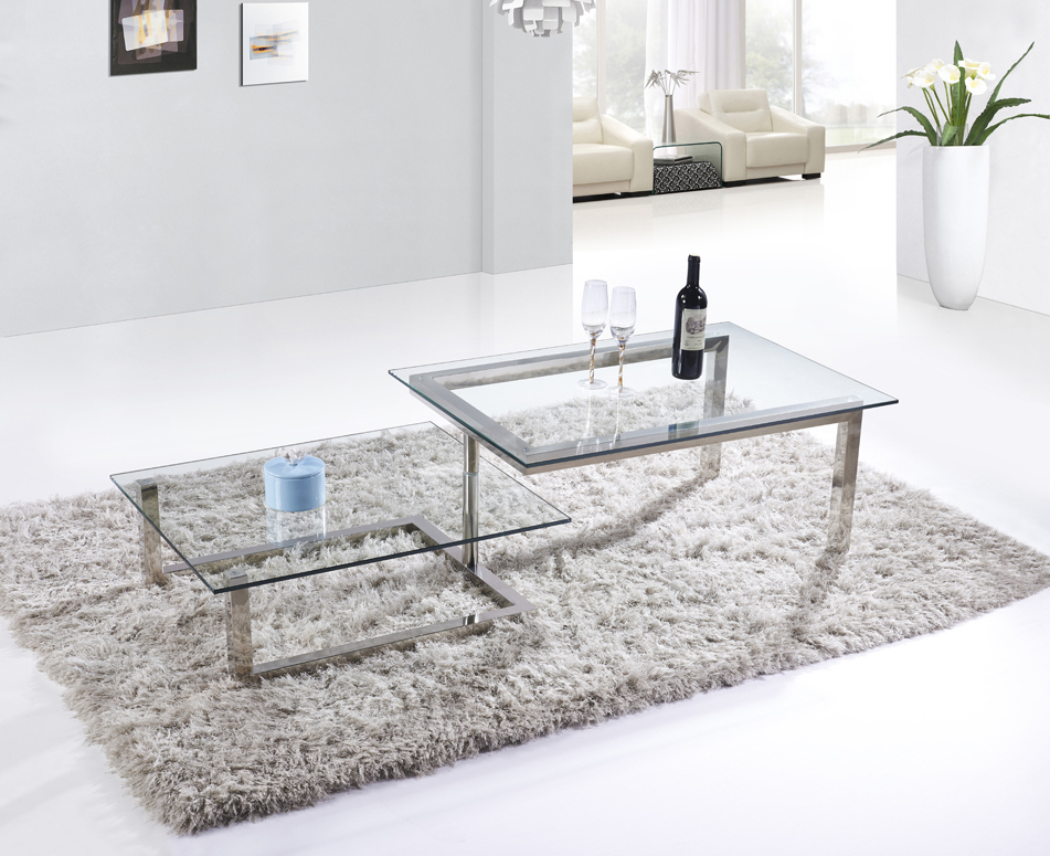 SHIMING FURNITURE MS-3353 Tempered glass top with stainless steel foot coffee table