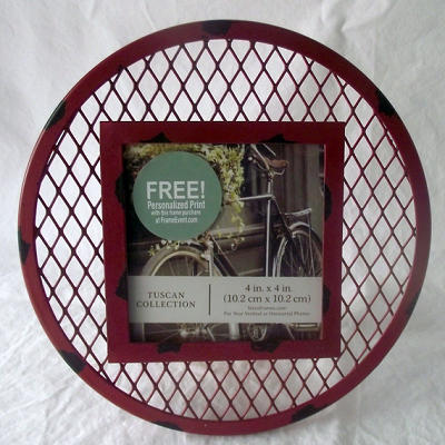 Metal Rustic Frame Round Square Photograph Photos 4x4 Inches Collection Red