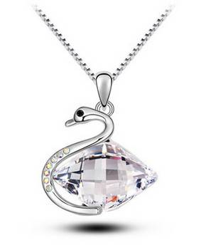 Fashion Women Big Crystal Swan Pendant Necklace Jewelry