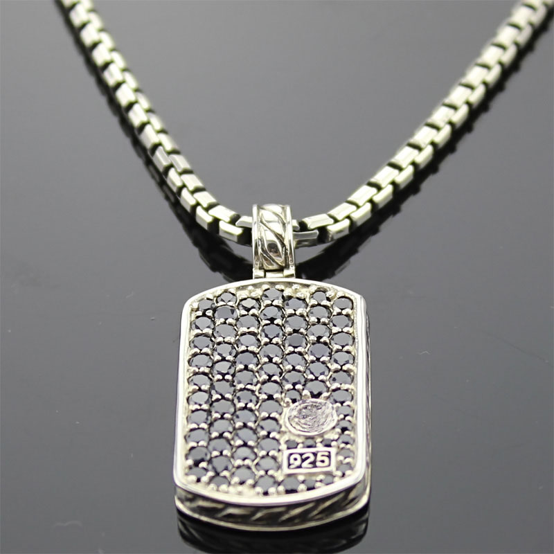 Sterling Silver Jewelry Pave Black CZ Dog Tag (M-012)