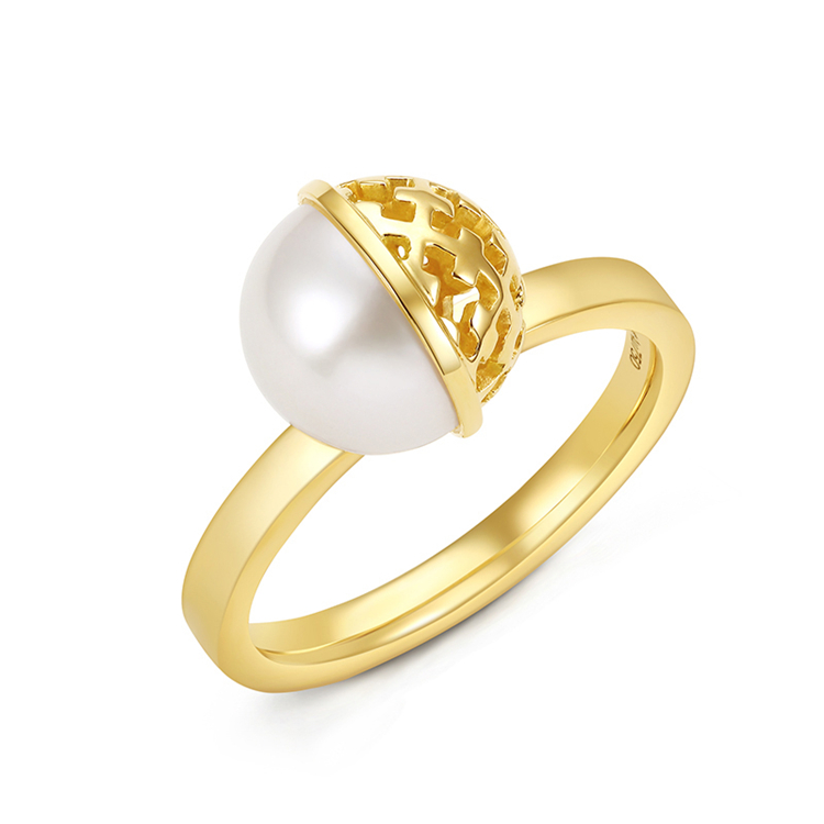 New Fashion Design 925 Sterling Silver Jewlery Ladies' Rings with Hollow Out Surface and Pearl