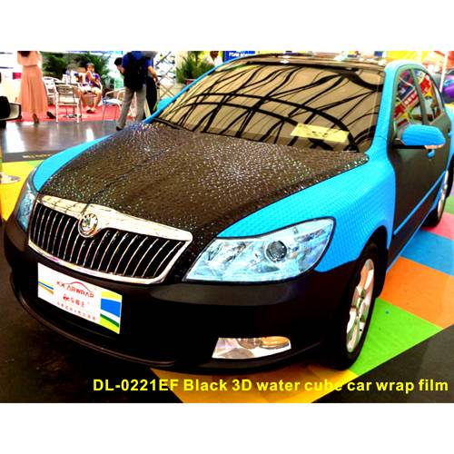3D Black water cube car wrap film