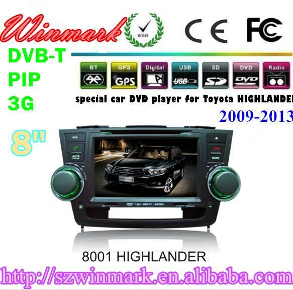 DH8001 car dvd player for Toyota Highlander with gps radio bluetooth ipod virtual 6 disc navigation