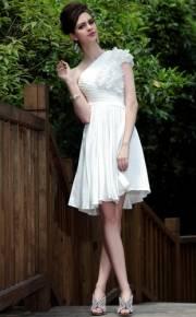 A-line Oblique Neckline Heavy Composite Filament Petals Ruched Cocktail Dress