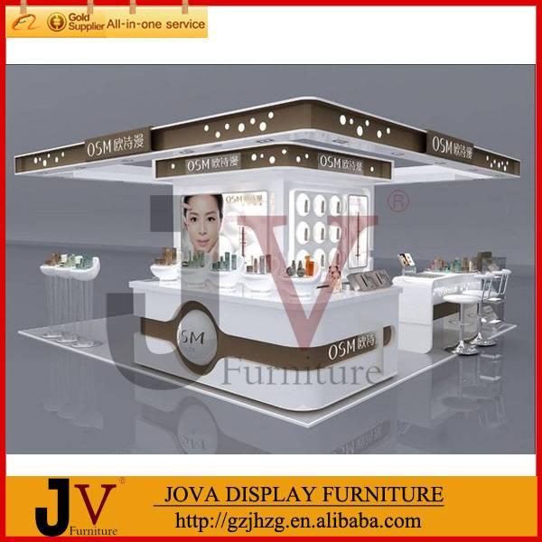 Customized mall cosmetics kiosk free design with showcase