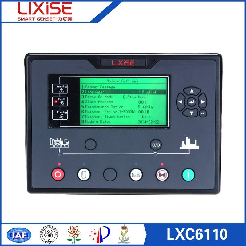 LXC6110 LIXiSE names of parts of diesel generator control panel