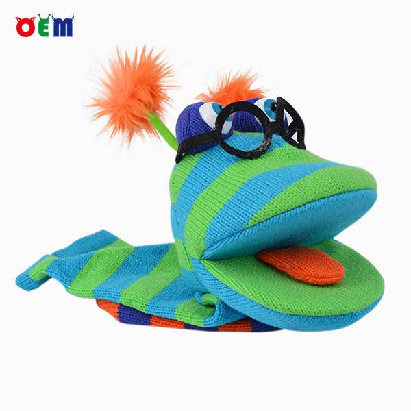 OEM Knitted Hand Puppet for adult nice stripy puppets