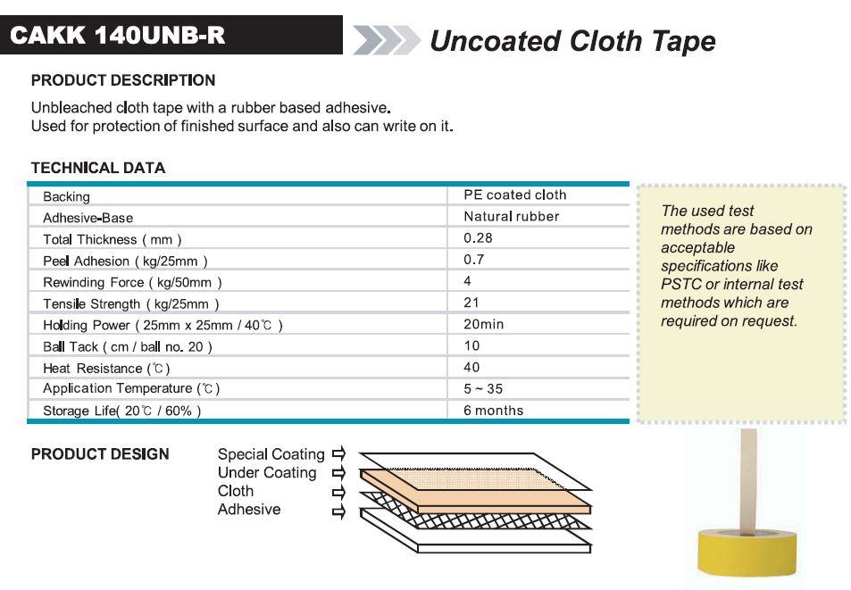 Uncoated Cloth Tape (CAKK 140UNB-R)