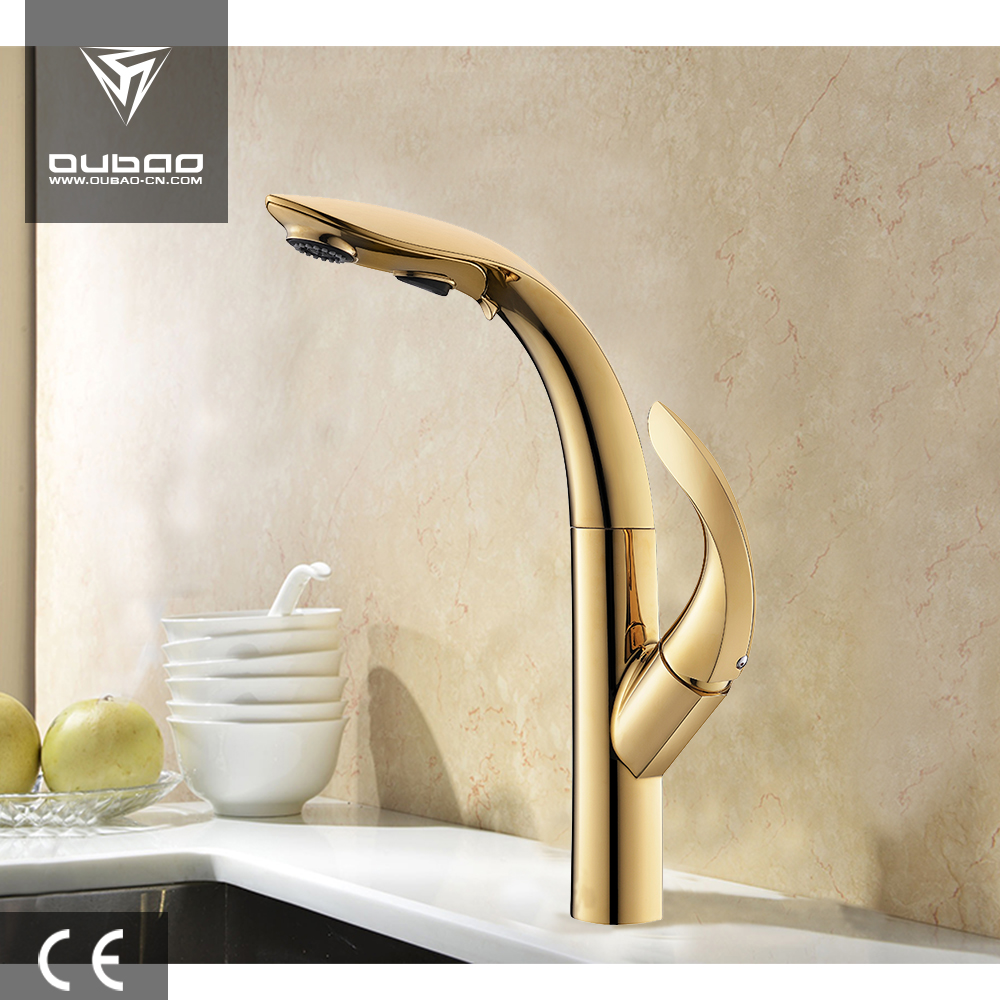 Leaf-shaped Special Design Pull Out Kitchen Faucet Basin Tap