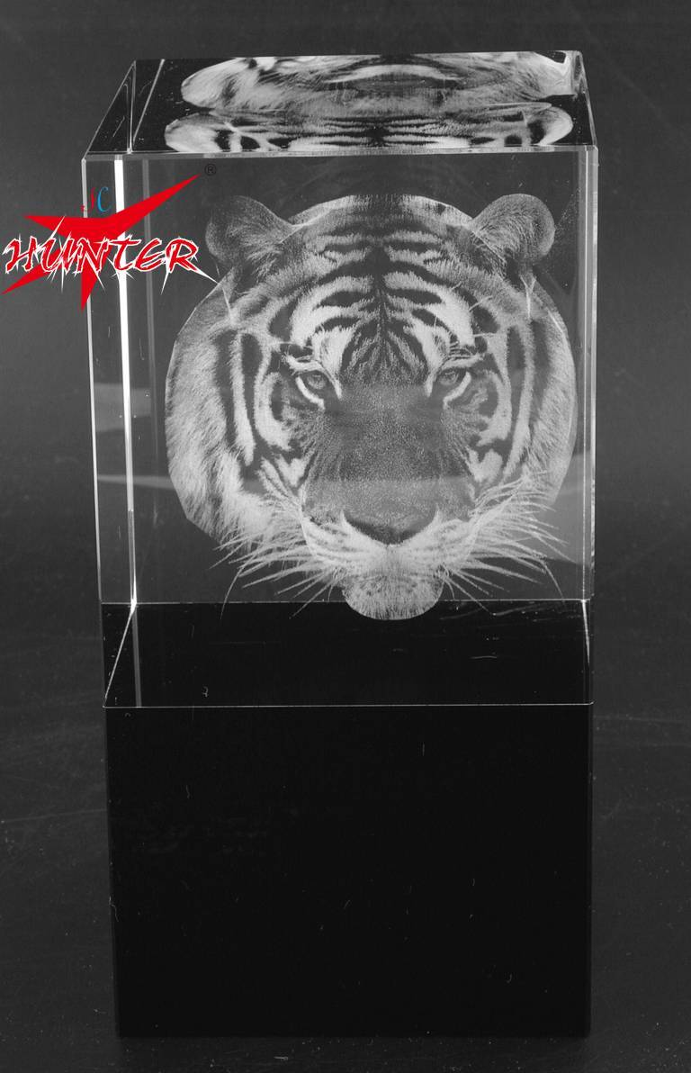 Tiger Head Crystal,3D Animal Laser Tiger Crystal