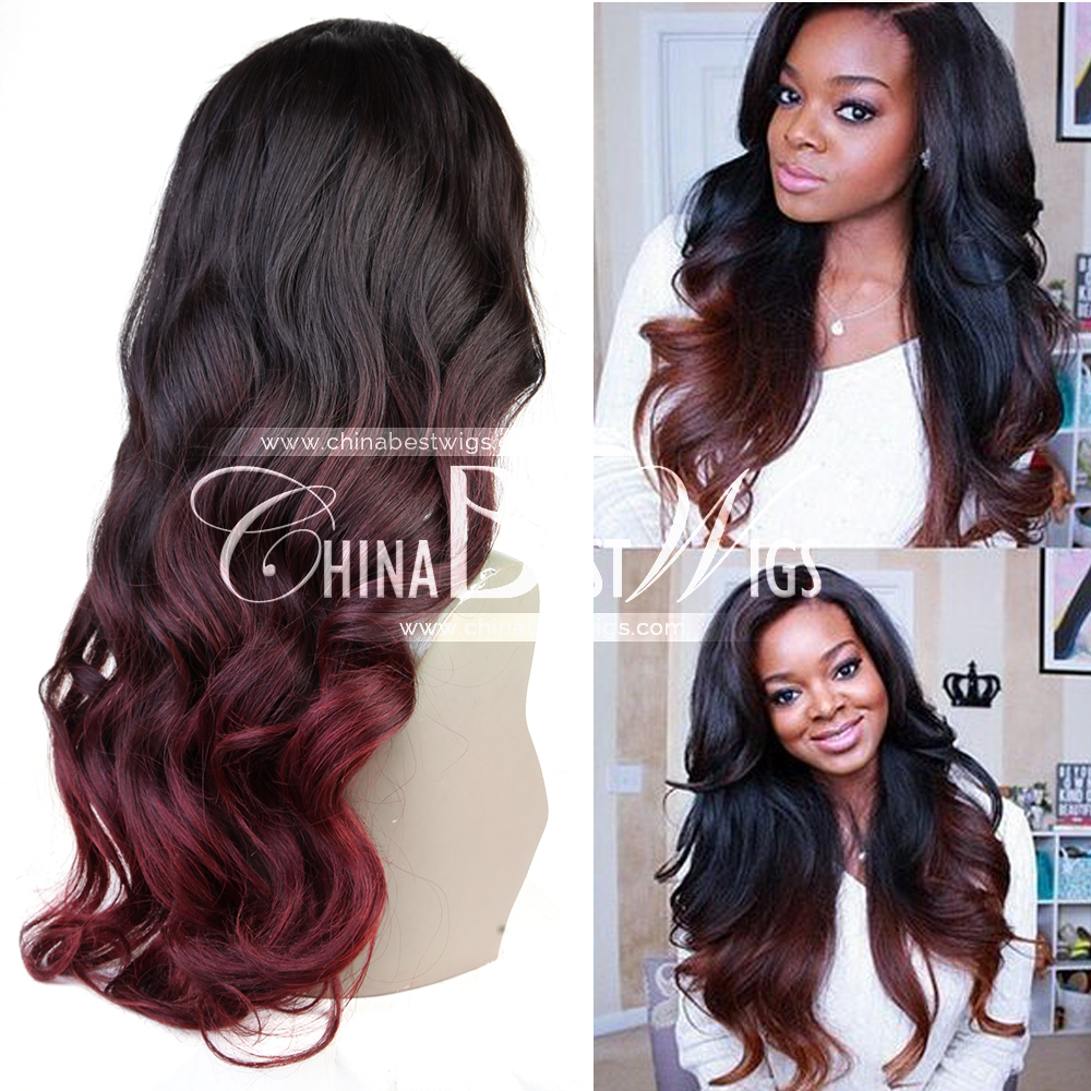 ombre red long wavy wig hair