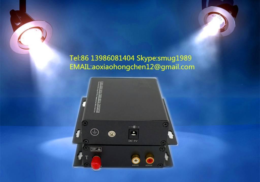 2 port RCA audio over single mode fiber extender to 20~120KM