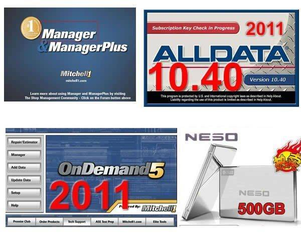 2011 Alldata 10.40 + 2011 Mitchell ondemand + mitchell manager 5.9 500G