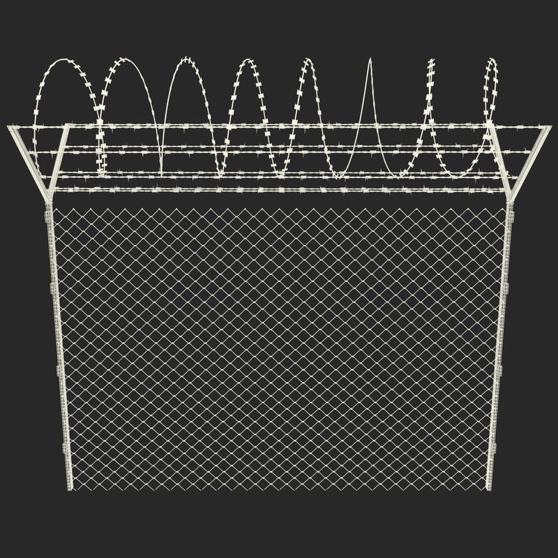 Temporary Chain Link Fence Panels with barb wire