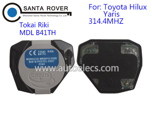 Keyless Entry Remote Control Car Key Fob 2 Button For Toyota Tokai Riki Hilux Yaris 314.4MHz