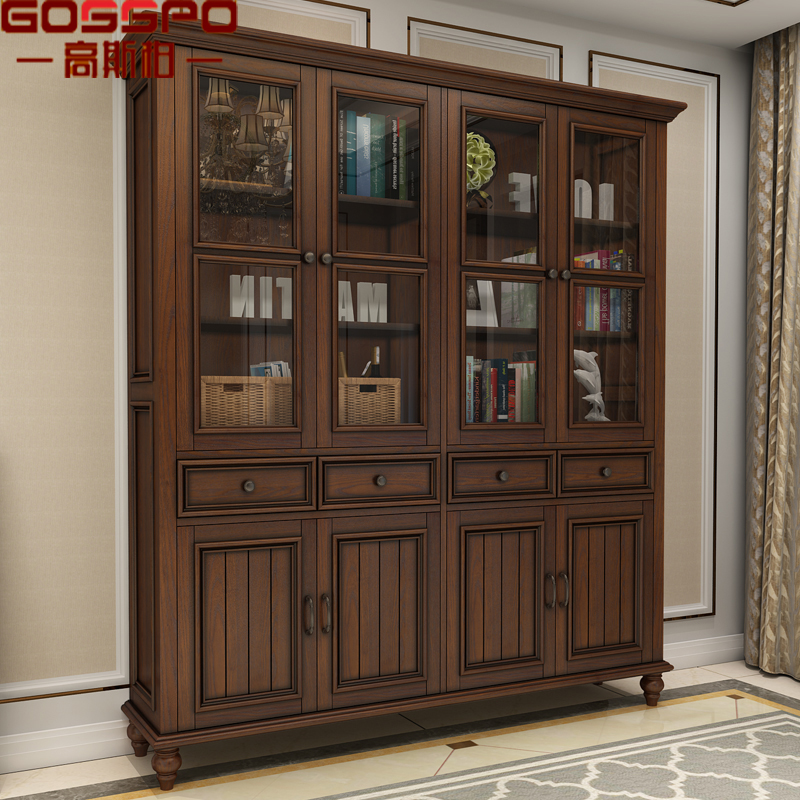 American Style Home Furniture Solid Mahogany Wood Bookcase