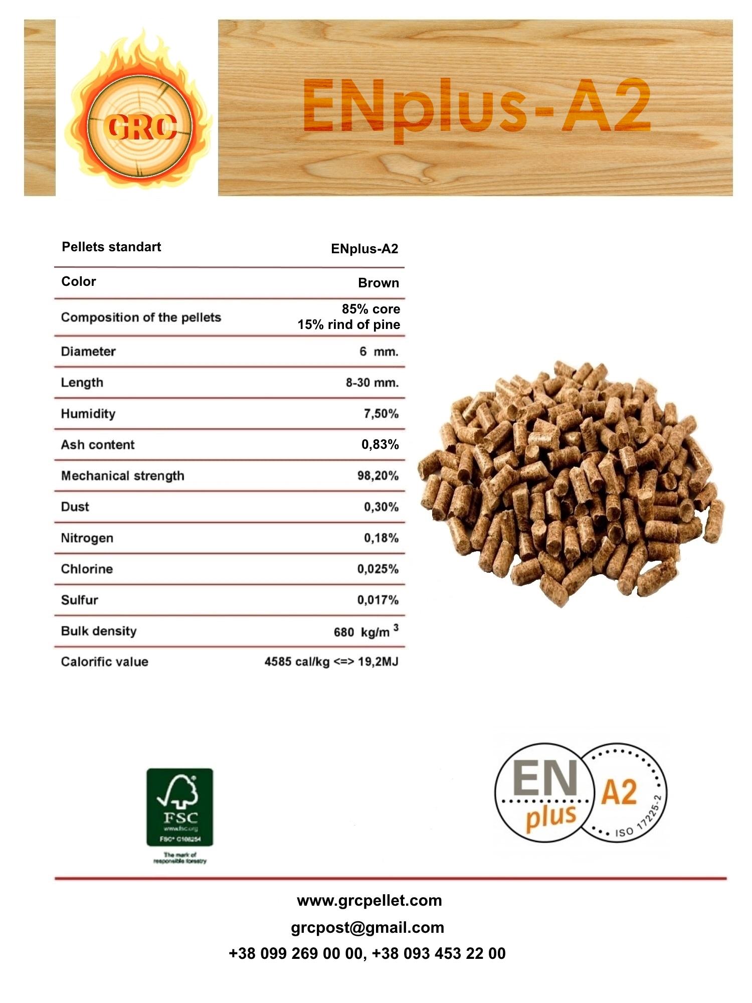 Wood pellets ENplus-A2, Ash-0,83%, 98 EUR