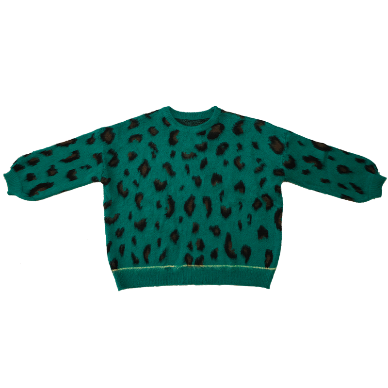 2021ss New Arrival Lazy Style Green Leopard Print Round Neck Lantern Sleeve Loose Silhouette Pullove
