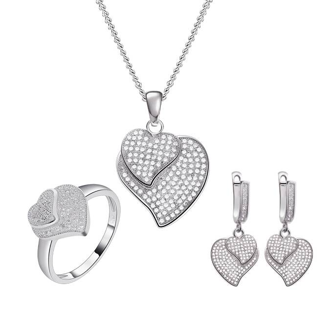 Sterling Silver Heart Jewelry Set, Best Gift Set