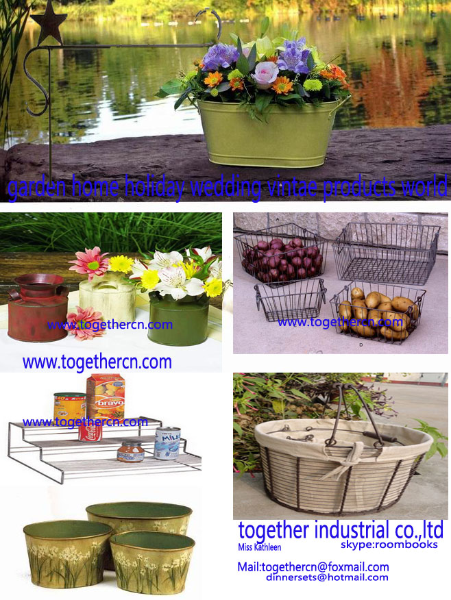 garden decoration metal wire basket metal bucket
