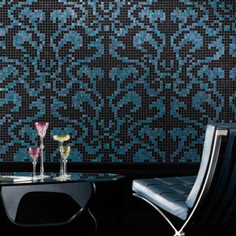 Damasco Opale JY-P-D08 Bisazza Black and Blue Pattern Glass Mosaic Living Room Wall Tile