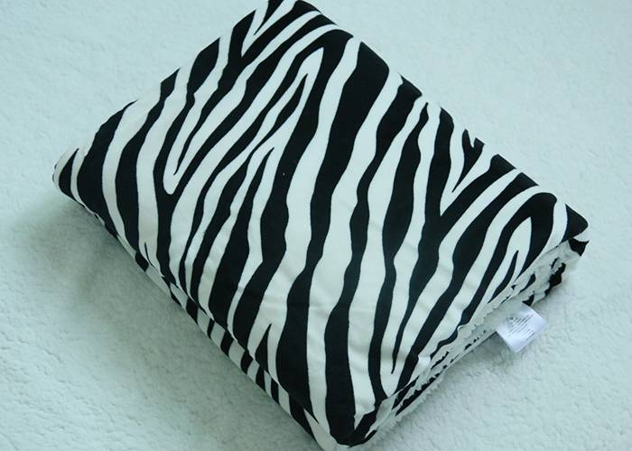 2016 high quality double sided zebra striped blanket flannel and sherpa fleece blanket