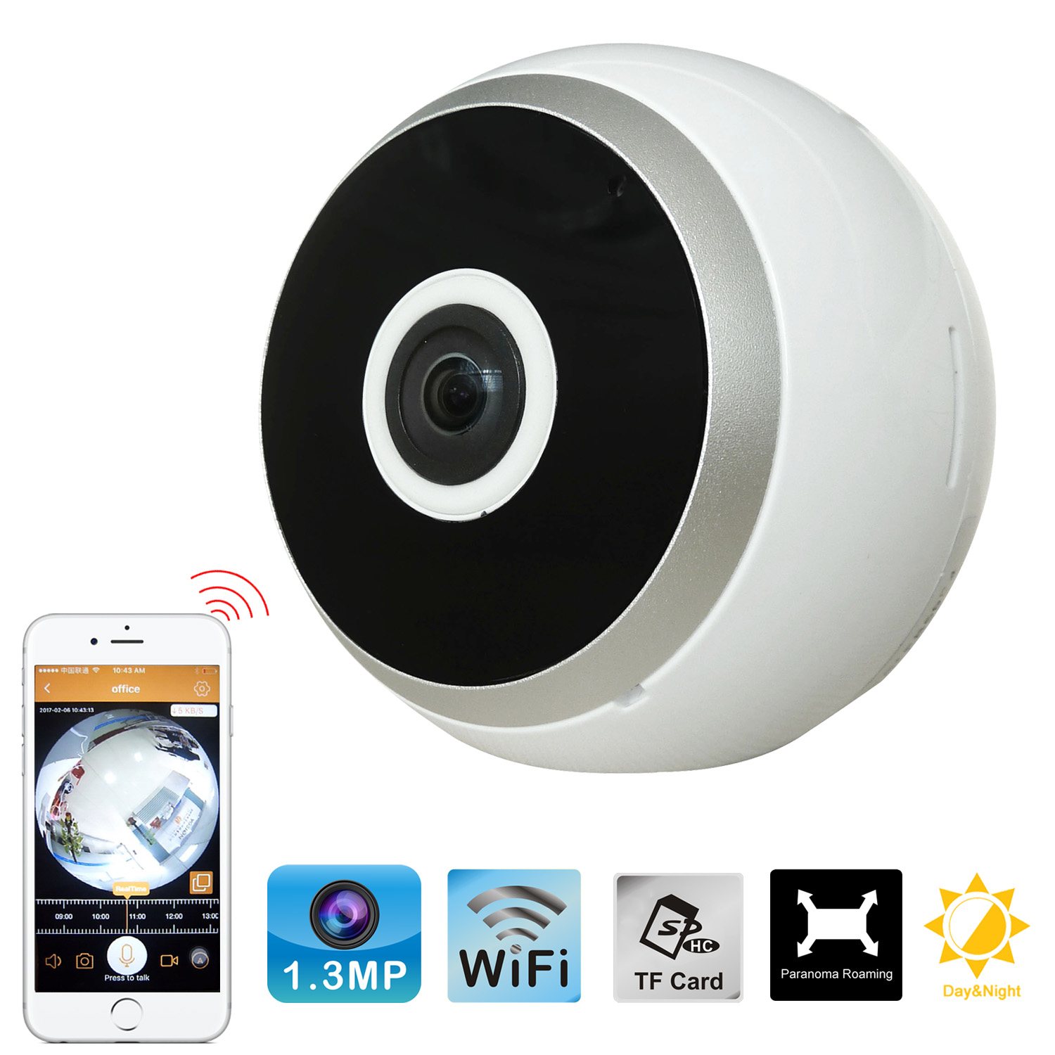 Easy installation HD 960P 1.44 mm Lens 360 degrees Wide Angle Surveillance Mini VR IP Camera