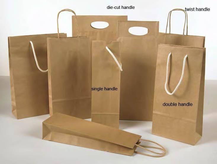 Eco-Friendly Die Cut Handle Brown Kraft Paper Bags