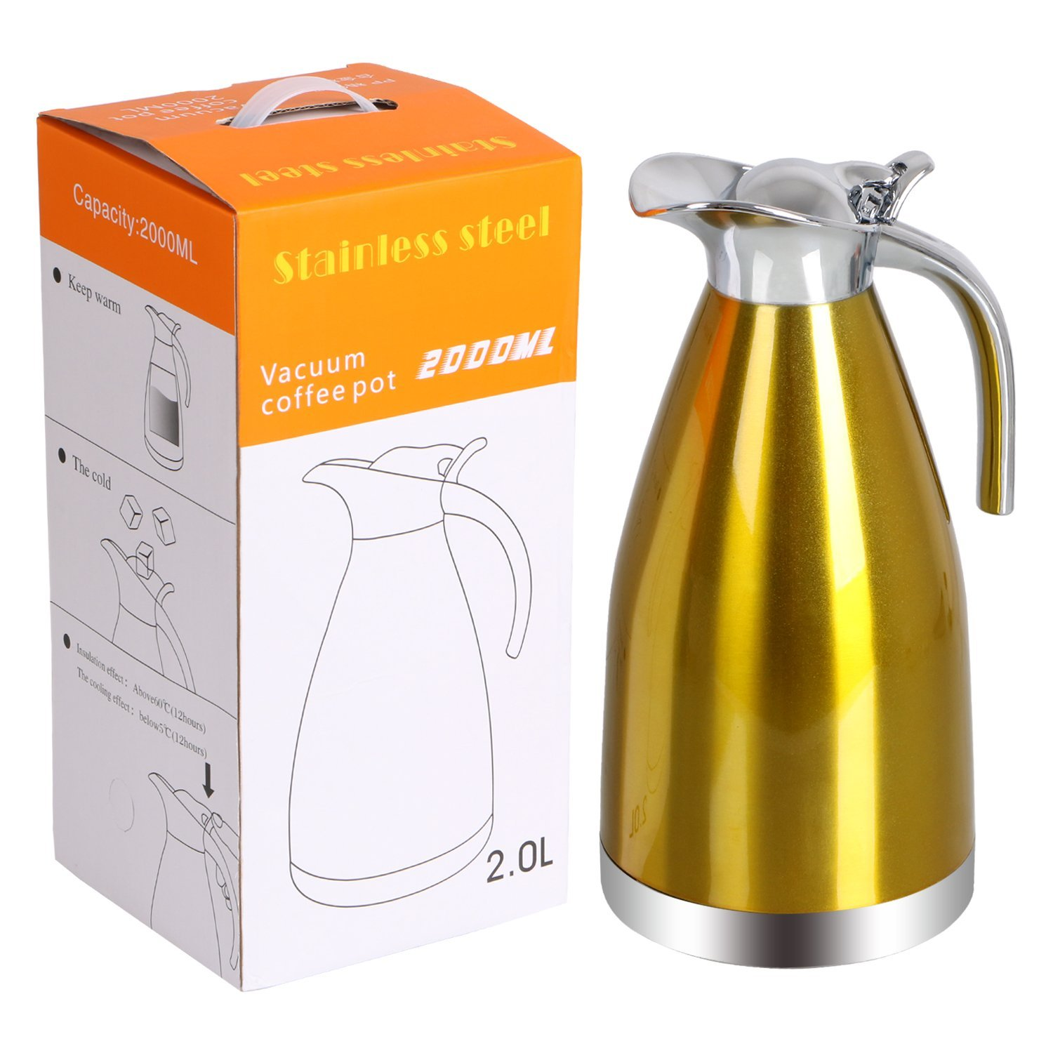 ZC-DA-C Stainless Steel Thermal Coffee Carafe, Double Walled Vacuum Insulated Carafe with Press Butt