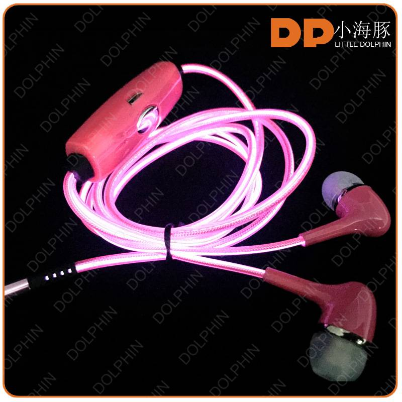 Innovative new product stereo quality earphone EL glowing headphone
