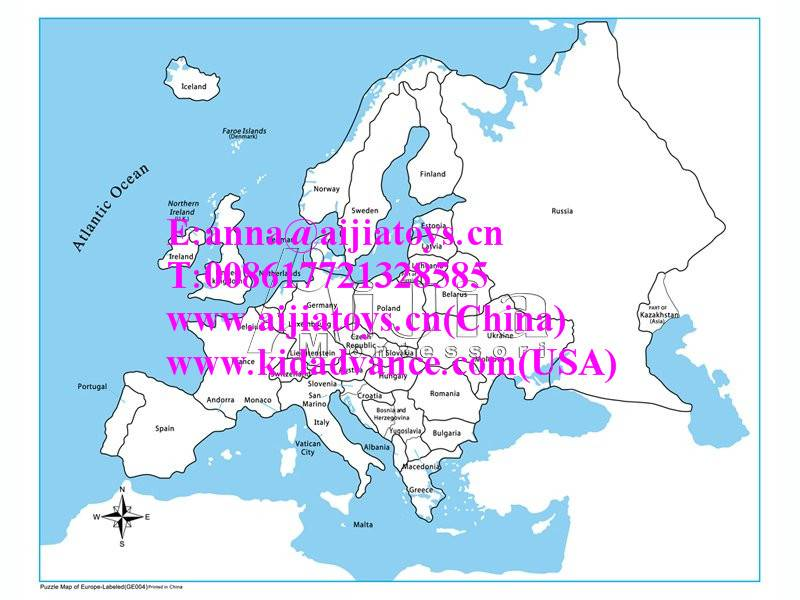 Montessori Labeled Europe Control Map,montessori material toys