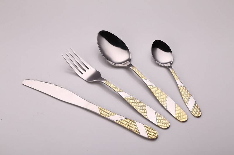 Stainless Steel Cutlery Fork/Spoon/Knife Set With Plastic Handle