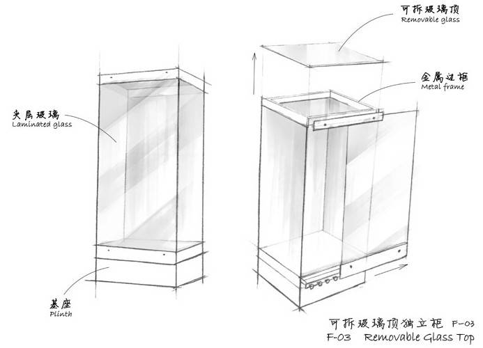 Museum Free standing display cases - Removable Glass TOp