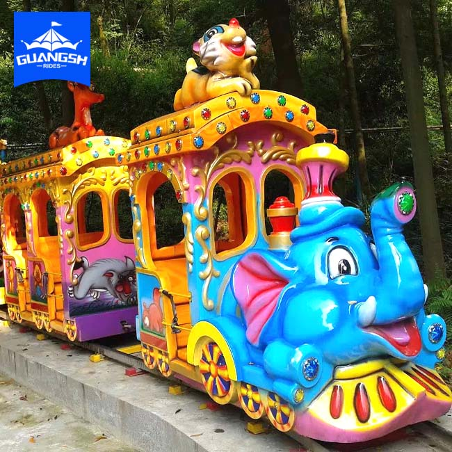 fun fair playgoud outdoor games children loved cute cartoon track train ,electric elephant train